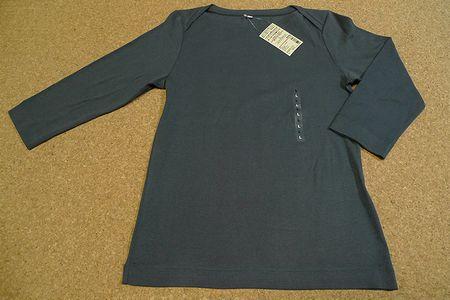 ボートネック七分袖Tシャツ